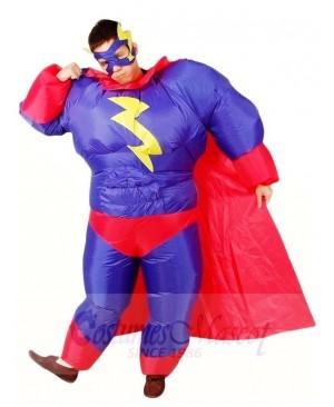 Fat Superman Purple Superhero Inflatable Halloween Xmas Costumes for Adults