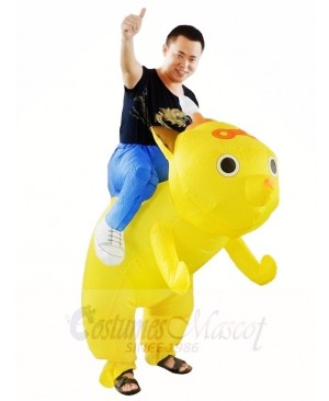 Yellow Dog Carry me Ride on Inflatable Halloween Xmas Costumes for Adults