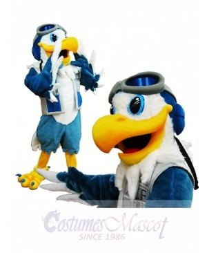 Blue and White Eagle Ace Mascot Costume Pilot Bird Hawk Mascot Costume Animal
