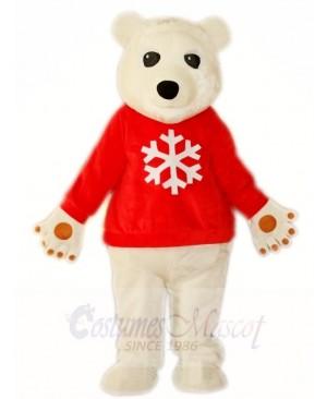 Red Shirt White Polar Bear Mascot Costumes Animal