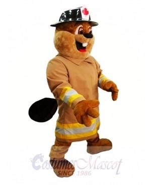 Beaver in Hat Mascot Costume Burny Beaver Mascot Costumes