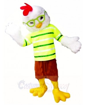 Cute Chicken Cock Rooster with Glasses Mascot Costumes Poultry Animal