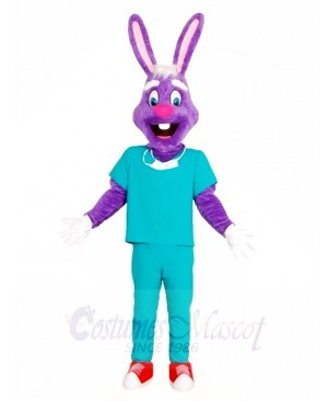 Purple Rabbit Doctor Mascot Costumes Animal Easter Bunny