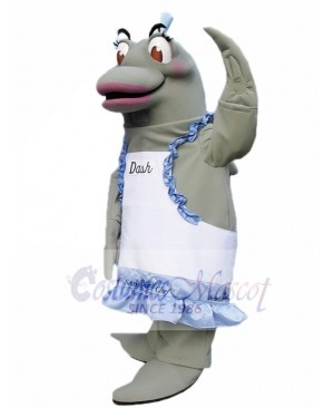 Grey Dolphin Chef on right Mascot Costumes