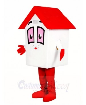 Red Roof House Home Mascot Costumes For Real Estate Agency Promotion