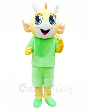 Yellow Dragon in Green Suit Mascot Costumes