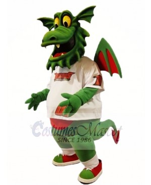 Dark Green Dragon with Wings Mascot Costumes