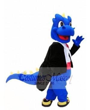 Blue Dragon with Yellow Thorns Spikes Mascot Costumes