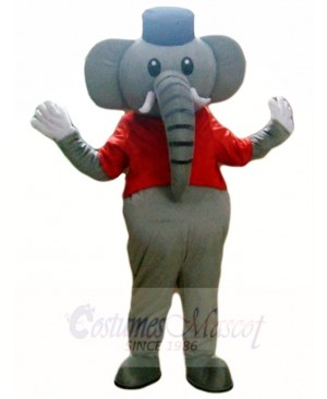Grey Elephant in Red Vest Mascot Costumes Animal