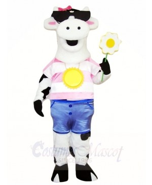 White Cow with Sunglasses Mascot Costumes Farm Animal