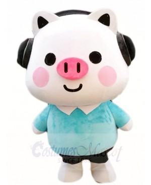 Pig with Headset Mascot Costumes Cartoon