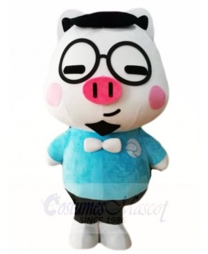 Pig with Glasses Mascot Costumes Cartoon