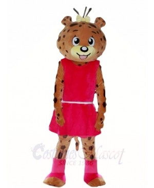 Pink Dress Leopard Panther Mascot Costumes Animal
