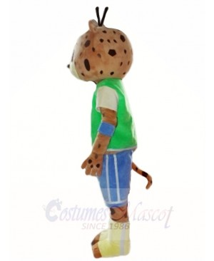 Green Shirt Blue Pants Leopard Panther Mascot Costumes Animal