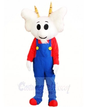 Blue Overall Goat Mascot Costumes Animal