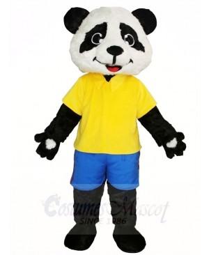 Yellow Shirt Blue Pants Panda Mascot Costumes Animal