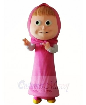Pink Hood Dress Girl Mascot Costumes