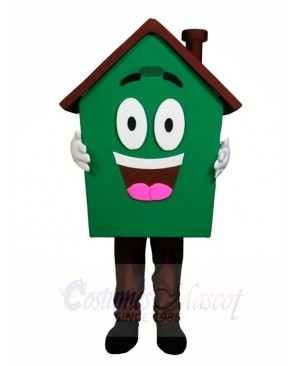 Green House Home Mascot Costumes For Real Estate Agency Promotion