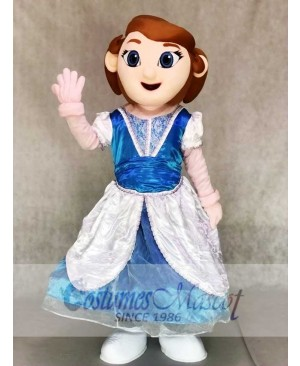 Princess Mascot Costumes in Blue and White Dress