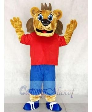 Red Sports Coaching Lion Mascot Costumes Animal