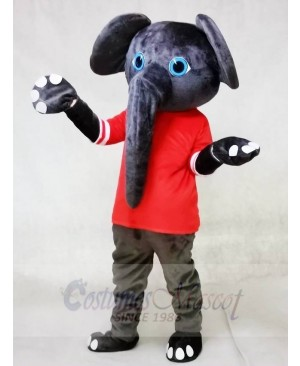 Gray Elephant in Red Shirt Mascot Costumes Animal