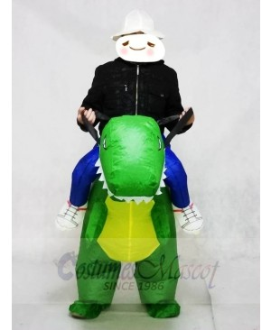 T-rex Carry me Ride On Green Dinosaur Inflatable Halloween Christmas Costumes for Adults
