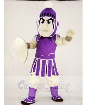 Purple Spartan Trojan Knight Sparty with Shield Mascot Costumes People