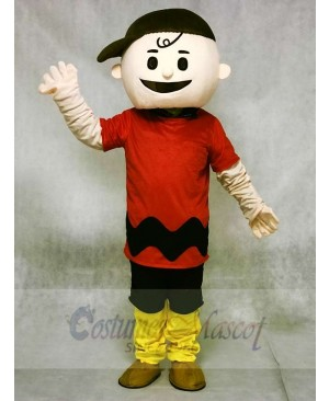 Red T-shirt Boy with Brown Hat Charlie Brown Mascot Costumes