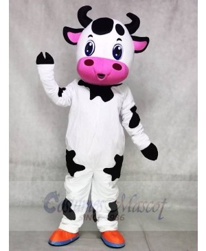 Cute Blue Eyes Cow Mascot Costumes Farm Animal