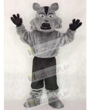 Cute Grey Pro Wolf Mascot Costume