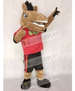 New Sport Team Broncho Horse in Red Shirt with Black Shorts Mascot Costume