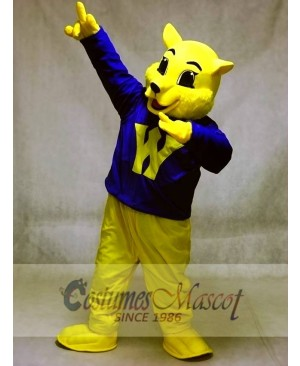Cute Winner Wildcat Cat Mascot Costumes in Blue Shirt Animal
