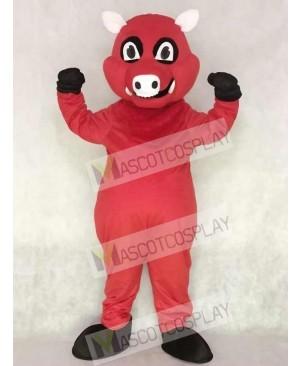 Cute Red Razorback Feral Pig Hog Wild Boar Mascot Costume