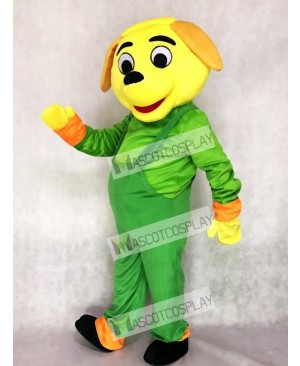 Yellow Dog with Green Overalls Mascot Costume Animal