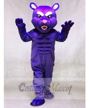 Cute Purple Muscle Panther Mascot Costumes Animal