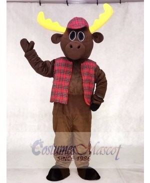 Cute Hunter Moose with Hat & Vest Mascot Costumes