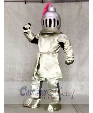 Adult Knight in Pink Armour Mascot Costumes People
