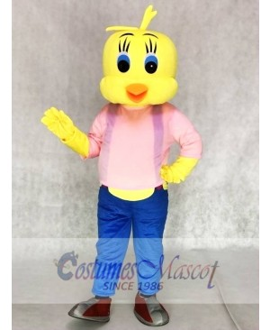 Tweety Looney Tunes Yellow Bird Mascot Costumes with Blue Overalls and Pink Shirt
