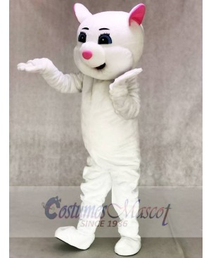 Pink Ears Kitty Cat White Mascot Costumes Cartoon