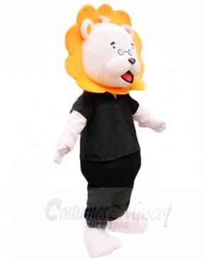 Orange Mane Black Shirt Lion Mascot Costumes Animal