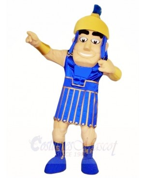 Blue Spartan Warrior Mascot Costumes People