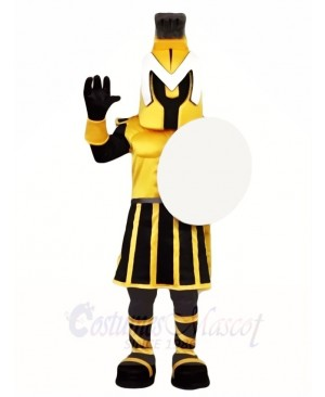 Black and Yellow Spartan Knight Mascot Costumes People