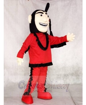 Red Brave Indian Mascot Costume People