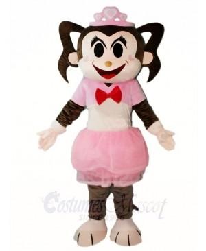 Pink Dress Monkey Girl Mascot Costumes Animal