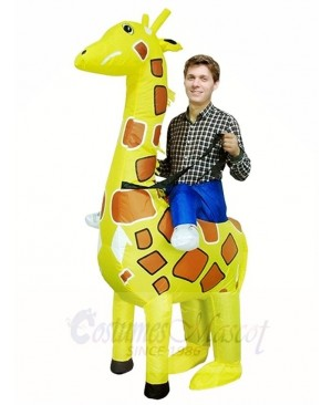 Giraffe Carry me on Christmas Inflatable Halloween Xmas Costumes for Adults