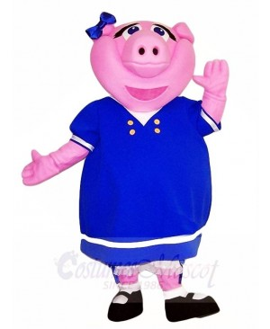 Pink Pig in Blue Dress Mascot Costumes Farm Animal