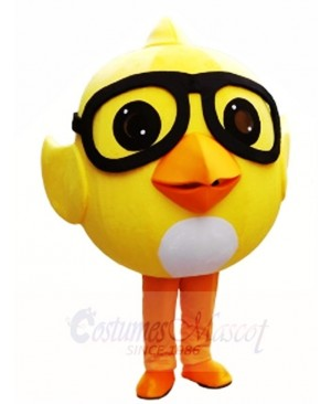 Yellow Chick with Glasses Mascot Costumes Poultry