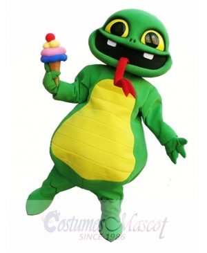Snake Holding An Ice Cream Mascot Costume Green Snake Mascot Costumes
