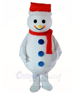 Snowman Mascot Costumes with Red Hat Christmas Xmas