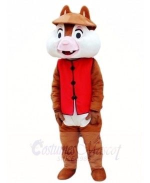 Two Teeth Squirrel in Red Vest Mascot Costumes Animal